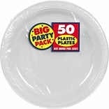 Amscan Big Party Pack 7 Silver Round Plastic Plates, 3/Pack, 50 Per Pack (630730.17)