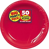 Amscan Big Party Pack Plastic Plates, 7W Round, Apple Red, 3/Pack, 50 Per Pack (630730.4)