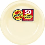 Amscan 7 Vanilla Creme Big Party Pack Round Plastic Plates, 3/Pack, 50 Per Pack (630730.57)