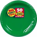 Amscan Big Party Pack 10.25 Green Round Plastic Plate, 2/Pack, 50 Per Pack (630732.03)