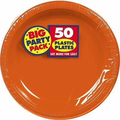 Amscan Big Party Pack 10.25 Orange Round Plastic Plate, 2/Pack, 50 Per Pack (630732.05)