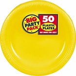 Amscan Big Party Pack 10.25 Sunshine Yellow Round Plastic Plate, 2/Pack, 50 Per Pack (630732.09)