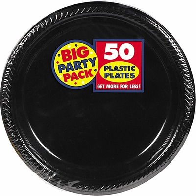 Amscan 10.25 Black Big Party Pack Round Plastic Plate, 2/Pack, 50 Per Pack (630732.1)