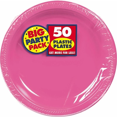 Amscan Big Party Pack 10.25 Bright Pink Round Plastic Plate, 2/Pack, 50 Per Pack (630732.103)