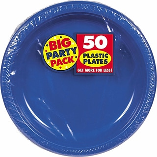 Amscan Big Party Pack 10.25W Round Royal Blue Plastic Plates, 2/Pack, 50 Per Pack (630732.105)