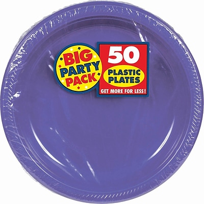 Amscan 10.25 Purple Big Party Pack Round Plastic Plate, 2/Pack, 50 Per Pack (630732.106)