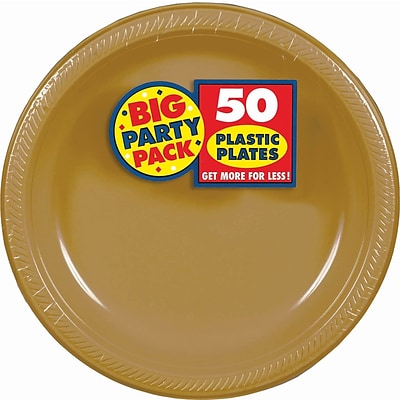 Amscan Big Party Pack 10.25 Gold Round Plastic Plate, 2/Pack, 50 Per Pack (630732.19)