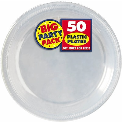 Amscan 10.25 Clear Big Party Pack Round Plastic Plate, 2/Pack, 50 Per Pack (630732.86)