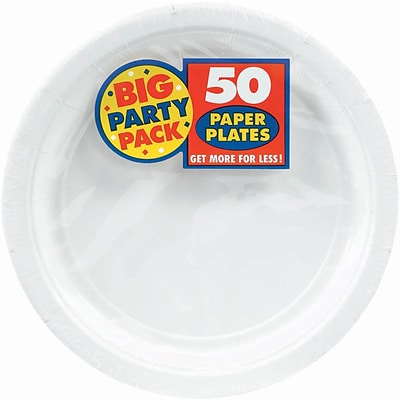 Amscan 7 White Big Party Pack Round Paper Plates, 6/Pack, 50 Per Pack (640013.08)