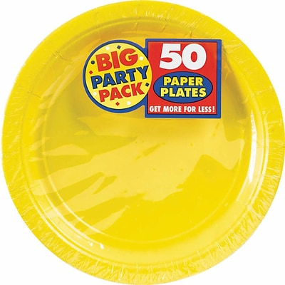 Amscan Big Party Pack 7 Sunshine Yellow Round Paper Plates, 6/Pack, 50 Per Pack (640013.09)