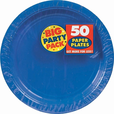 Amscan 7 Royal Blue Big Party Pack Round Paper Plates, 6/Pack, 50 Per Pack (640013.105)