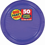Amscan Big Party Pack 7 Purple Round Paper Plates, 6/Pack, 50 Per Pack (640013.106)