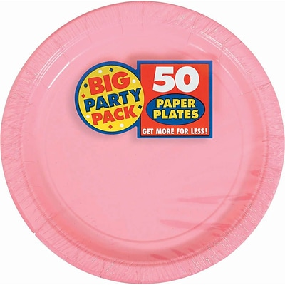 Amscan 7 Pink Big Party Pack Round Paper Plates, 6/Pack, 50 Per Pack (640013.109)