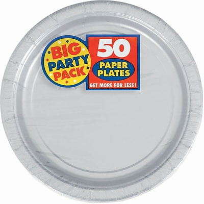 Amscan Big Party Pack 7 Silver Round Paper Plates, 6/Pack, 50 Per Pack (640013.18)