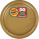 Amscan 7 Gold Big Party Pack Round Paper Plates, 6/Pack, 50 Per Pack (640013.19)