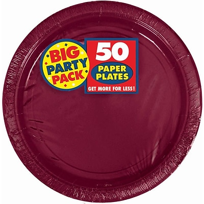 Amscan Big Party Pack 7W Round, Berry Paper Plates, 6/Pack, 50 Per Pack (640013.27)