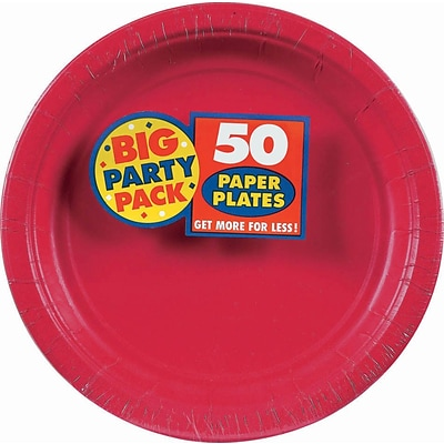 Amscan 7 Apple Red Big Party Pack Round Paper Plates, 6/Pack, 50 Per Pack (640013.4)