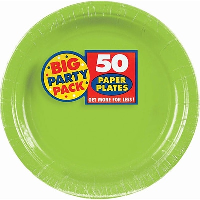 Amscan 7 Kiwi Big Party Pack Round Paper Plates, 6/Pack, 50 Per Pack (640013.53)