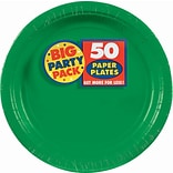 Amscan Big Party Pack Paper Plates, 9W Round, Festive Green, 5/Pack, 50 Per Pack (650013.03)