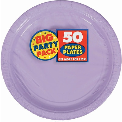 Amscan Big Party Pack 9 Lavender Round Paper Plates, 5/Pack, 50 Per Pack (650013.04)
