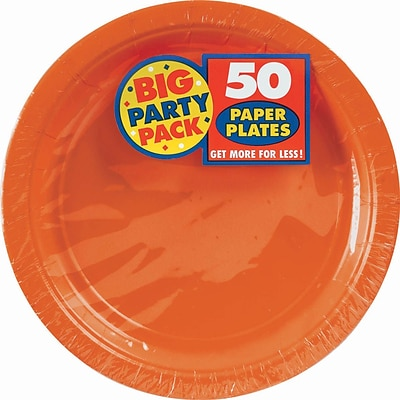 Amscan 9 Orange Big Party Pack Round Paper Plates, 5/Pack, 50 Per Pack (650013.05)
