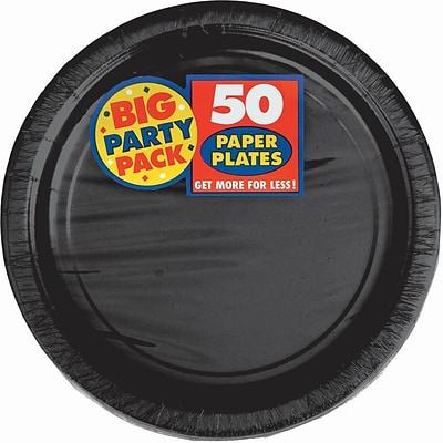 Amscan Big Party Pack 9 Round Paper Plates, Black, 5/Pack, 50 Per Pack (650013.1)