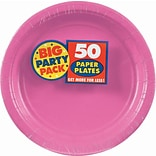 Amscan 9 Bright Pink Big Party Pack Round Paper Plates, 5/Pack, 50 Per Pack (650013.103)