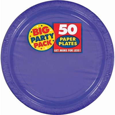 Amscan 9 Purple Big Party Pack Round Paper Plates, 5/Pack, 50 Per Pack (650013.106)
