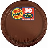 Amscan 9 Chocolate Brown Big Party Pack Round Paper Plates, 5/Pack, 50 Per Pack (650013.111)