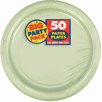 Amscan Big Party Pack 9W Round, Leaf Green Paper Plates, 5/Pack, 50 Per Pack (650013.115)