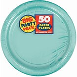 Amscan 9 Robins Egg Blue Big Party Pack Round Paper Plates, 5/Pack, 50 Per Pack (650013.121)