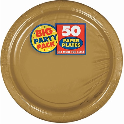 Amscan 9 Gold Big Party Pack Round Paper Plates, 5/Pack, 50 Per Pack (650013.19)