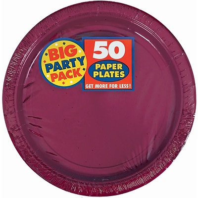 Amscan 9 Berry Big Party Pack Round Paper Plates, 5/Pack, 50 Per Pack (650013.27)
