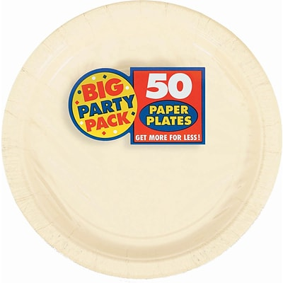 Amscan 9 Vanilla Creme Big Party Pack Round Paper Plates, 5/Pack, 50 Per Pack (650013.57)