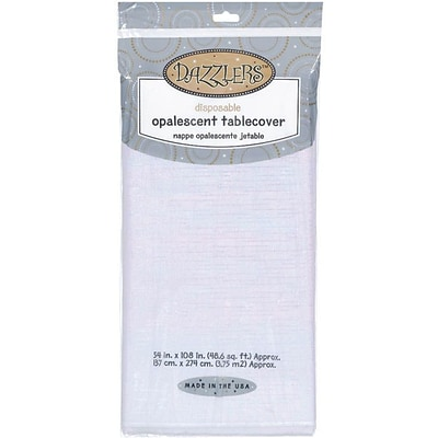 Amscan 54 x 108 White Sparkling Dazzler Paper Table Cover; 3/Pack (773500.08)