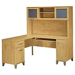 Bush Furniture Somerset 60W L-Desk with Hutch, Maple Cross