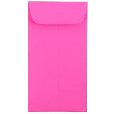 JAM Paper® #7 Coin Envelopes, 3 1/2 x 6 1/2, Brite Hue Ultra Fuchsia Pink, 50/Pack (1526767I)