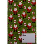JAM Paper® Holiday Bubble Mailers, Large, 10.5 x 16, Green Santa and Present Pattern, 6/pack (SS40LD