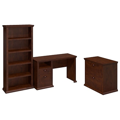 Bush Yorktown Single Pedestal Desk with Bookcase and Lateral File