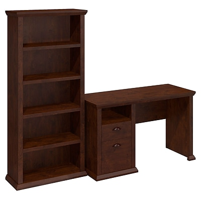 Bush Yorktown Single Pedestal Desk and Bookcase