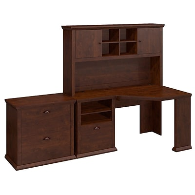 Bush Yorktown 60W Corner Desk with Hutch and Lateral File