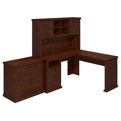 Bush Yorktown 60W L-Desk with Hutch and Lateral File