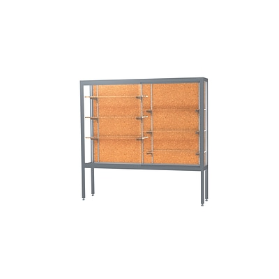 Waddell Challenger 72W x 66H x 16D Floor Case, Cork Back, Satin Natural Finish, Aluminum Legs