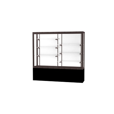 Waddell Challenger 72W x 66H x 16D Floor Case, White Back, Dk. Bronze Finish, Black Laminate Base