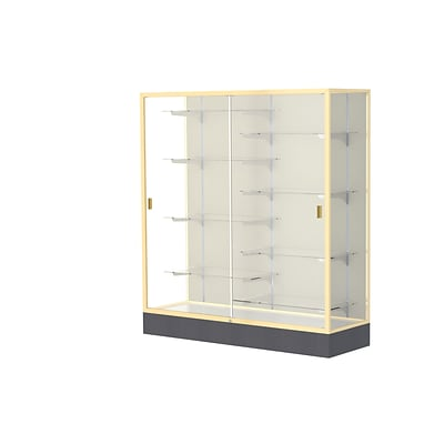 Waddell Colossus 60W x 66H x 20D Floor Case, Plaque Back, Champagne Finish