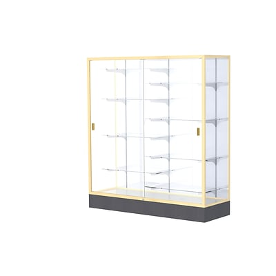 Waddell Colossus 60W x 66H x 20D Floor Case, White Back, Champagne Finish