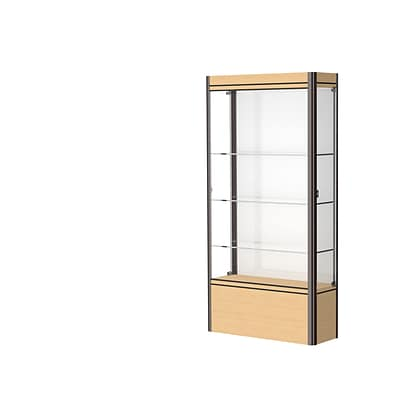 Waddell Contempo 36W x 72H x 14D Lighted Floor Case, White Back, Lt. Maple Base, Dk Bronze Finish