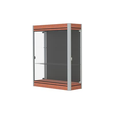 Waddell Contempo 36W x 44H x 14D Lighted Wall Case, Black Back, Cherry Base, Satin Finish