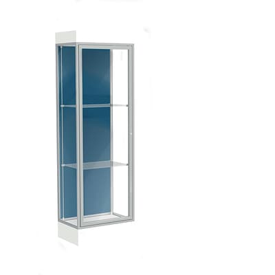 Waddell Edge 24x76x20 Lighted Floor Case, 6 base, Blue Steel Back, Satin Fin, Frosty White Base