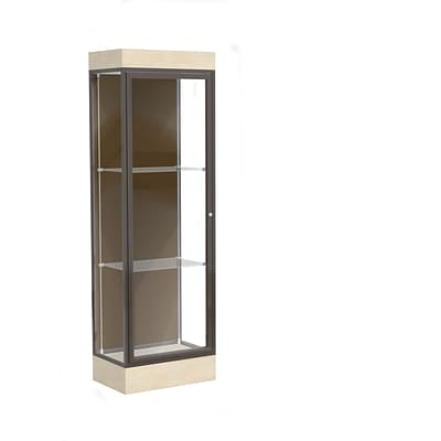 Waddell Edge 24x76x20 Lighted Floor Case, 6Base, Chocolate Back, Dk. Bronze Fin, Chardonnay Base